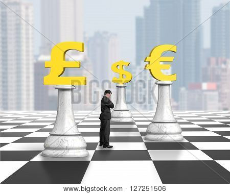 Standing Man Thinking With Money Chess On Chessboard