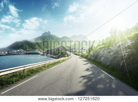 misty road by the sea, Lofoten island, Norway
