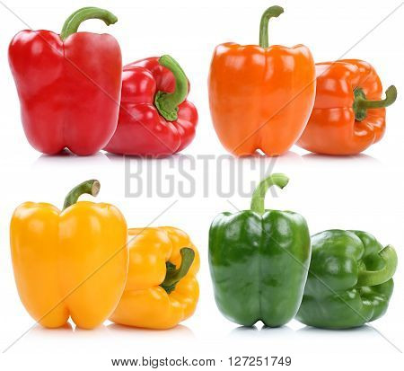 Collection Of Bell Pepper Peppers Paprika Paprikas Isolated On White
