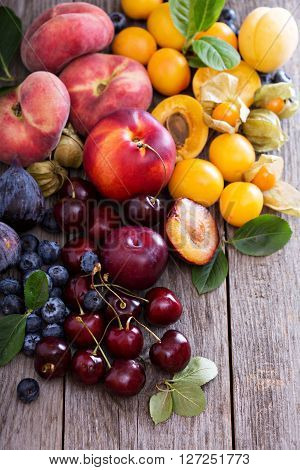 Summer fruits on wooden table with nectarines, apricots and cherry