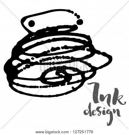 Vector ink stains design card. Isolated black splashes on white background. Modern gray brush lettering title phrase.