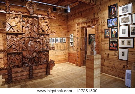 ZAKOPANE POLAND - APRIL 24 2016: Art museum XX century Willa Oksza on 24 April 2016 in Zakopane Poland. The historic building houses the art gallery of the twentieth century willingly visited by tourists