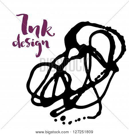 Vector ink stains design card. Isolated black splashes on white background. Modern purple brush lettering title phrase.