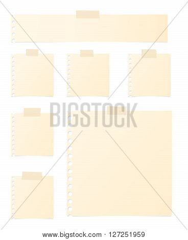 Pieces of brown note paper are stuck on white background.