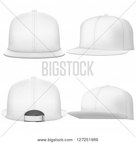 Set of Layout of Male white rap cap. A template simple example. Editable  Illustration isolated on white background.