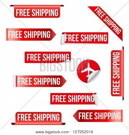Set of Free Shipping Red Label Icon Design.  illustration Isolated on white background.