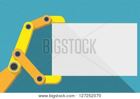 Robot hand holding blank sign with space for text. Flat Design.  Illustration isolated on background.