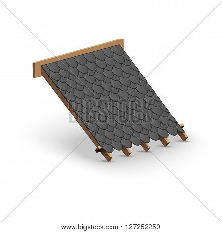 3D Icon demonstration black shingles roofing cover on the roof.   Illustration isolated on white background.