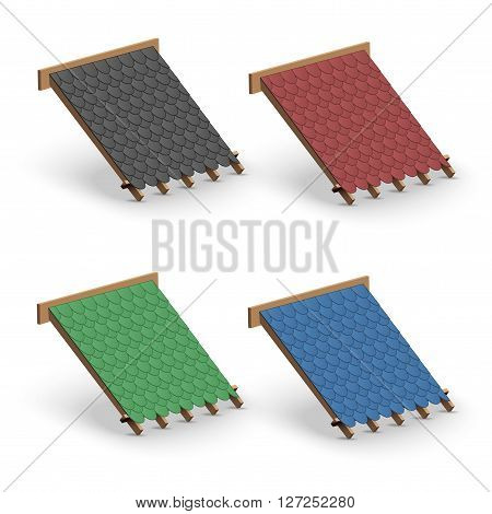 3D Set of Icons demonstration bitumen shingles roofing cover on the roof.   Illustration isolated on white background.