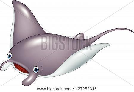 Vector illustration of Cartoon cute stingray isolated on white background