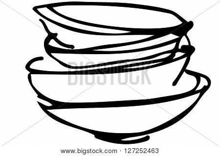 Vector Sketch Of A Pile Of Dirty Dishes