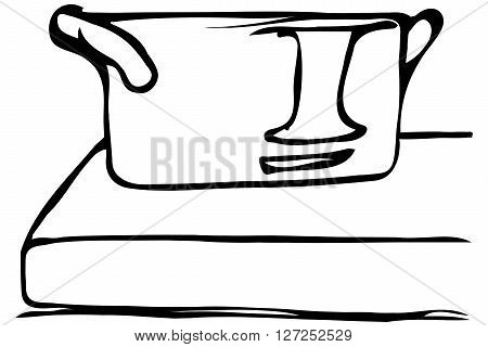 Vector Sketch Of A Large Saucepan Standing On The Edge Of The Table