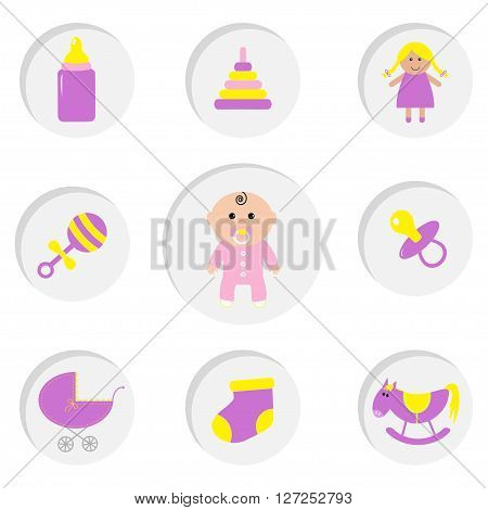 Baby girl shower card. Its a girl. Bottle horse rattle pacifier sock doll baby carriage pyramid toy. Round icon set. Isolated. White bacground Flat design Vector illustration