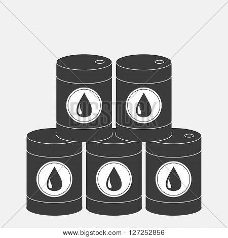 Oil barrel pyramid set with oil drop sign icon. Isolated. Black sign on white background. Oil droplet. Flat design. Vector illustration