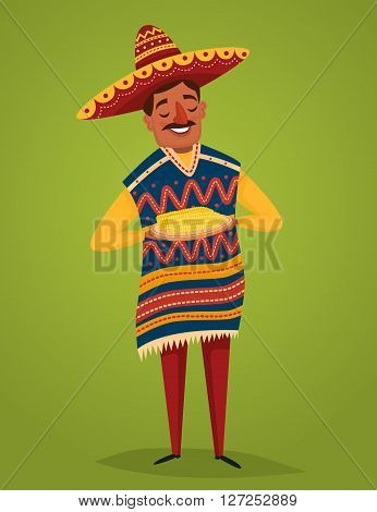 Mexican food concept. Man in Mexican national costume. Vector character in cartoon style. Banner of mexican food. Cartoon mexican food poster. National food from Mexico. Mexican people concept.