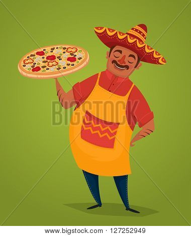Mexican chef with pizza. Mexican food concept. Man in Mexican national costume. Vector character in cartoon style. Banner of mexican food. Cartoon mexican food poster. National food from Mexico. Mexican people concept.