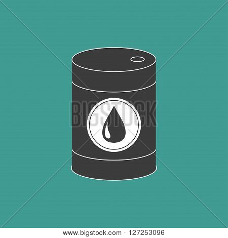 Oil barrel with oil drop sign icon. Isolated. Green background. Oil droplet. Flat design. Vector illustration