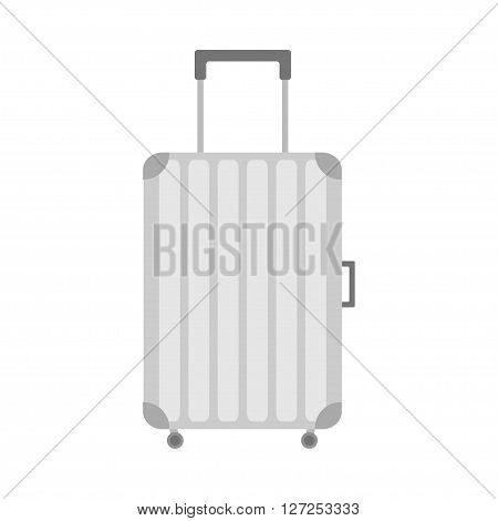 Suitcase icon. Travel bag baggage. Plastic luggage handbag wheel and handle. Summer vacation planning. Travelling tourism. Passenger luggage case. Flat design. Isolated. White background. Vector