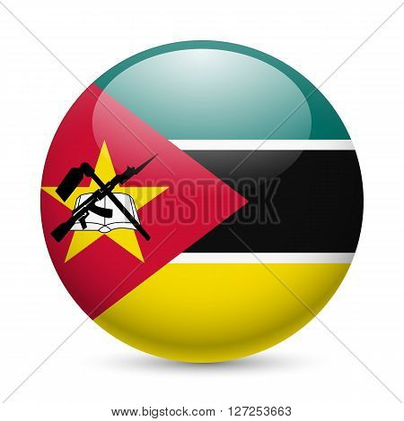 Flag of Mozambique as round glossy icon. Button with Mozambican flag