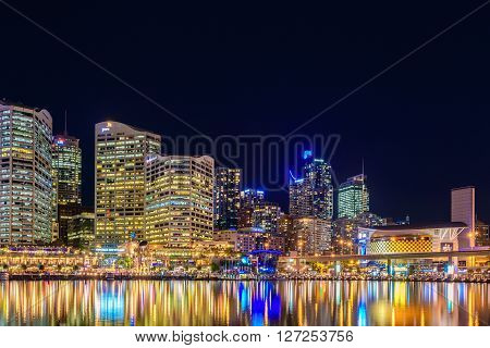 Sydney Australia - November 10 2015: Darling Harbour skyline view at night time. Long exposure camera settings applied.