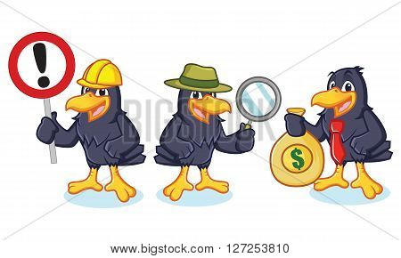 Crow Mascot Vector with sign detective and business