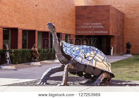 FORT WORTH TX USA - APR 6: Sculpture of a giant turtle in front of the Fort Worth Museum School. April 6 2016 in Fort Worth Texas USA