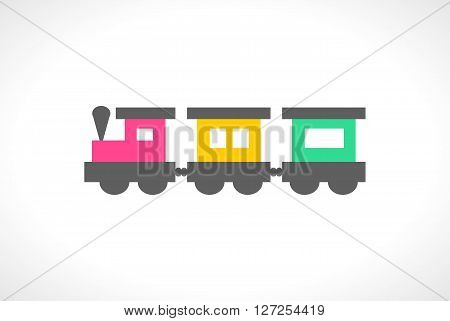 Illustration of beautiful multi colored toy train. Cute toddler locomotive. Cartoon transport carriage. Vehicle elements. Railroad for lovely children. Transportation icon. Happy childhood.