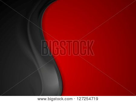 Contrast red black smooth wavy background. Vector graphic template design