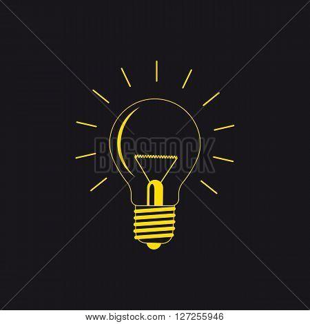 light bulb vector illustration logo yellow on a black