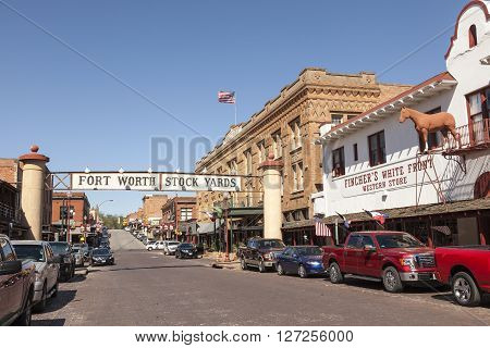FORT WORTH TX USA - APR 6: Street in the Fort Worth Stockyards historic district. April 6 2016 in Fort Worth Texas USA