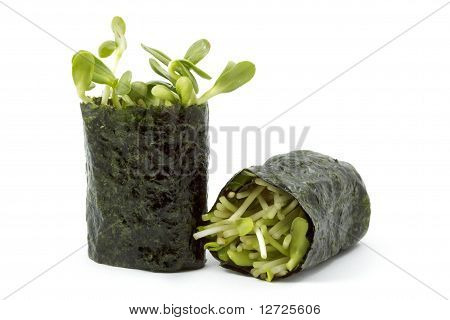 Sunflower Sprouts Wrapped In Sushi Nori