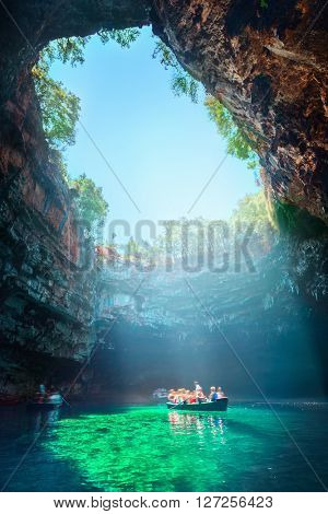 Melissani lake on Kefalonia island, Greece