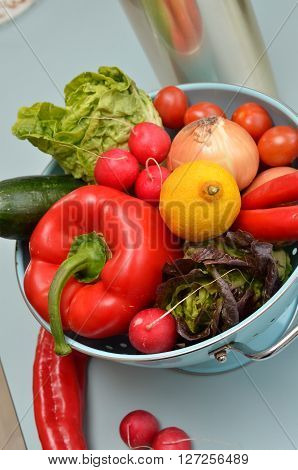 Vegetarian food ingredients of a salad in a kitchen