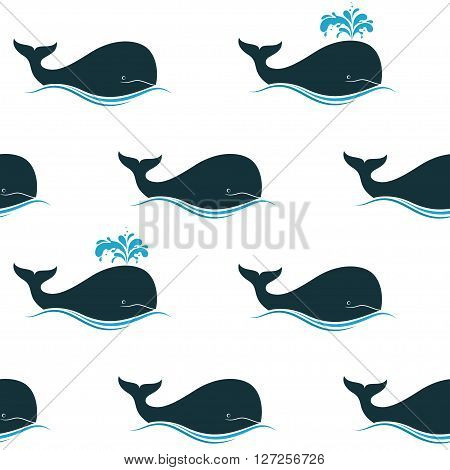 Seamless pattern with whales and their blow spouts
