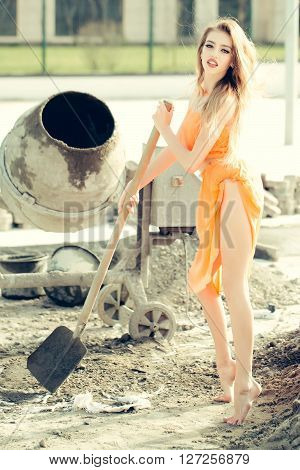 Sexy Girl On Building Site