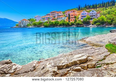 Fiskardo beach, Kefalonia island, Greece