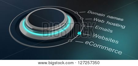 Futuristic green glowing round button or dial with internet and website marketing terms to select. 3d Rendering.