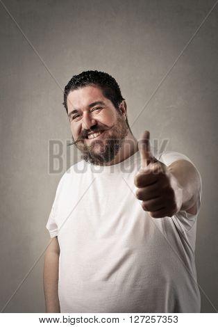 Chubby man feeling positive