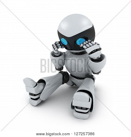 Robot in panic on white background (done in 3d)