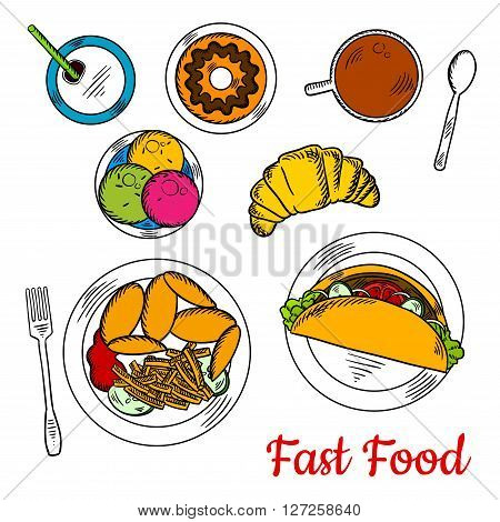 Fast food chicken wings and french fries, served with ketchup and cucumbers, corn taco with fresh vegetables and ground beef, ice cream sundae, donut topped with chocolate sauce and croissant with cup of coffee and soda can. Sketch style