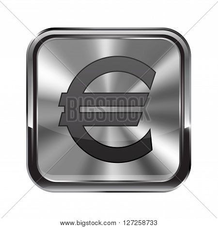Metal button. With chrome frame. Euro icon. Vector illustration isolated on white background
