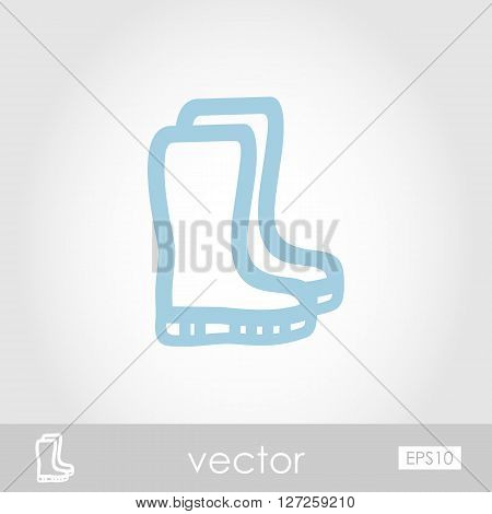 Rubber boots gumboots wellies vector icon outline isolated garden eps 10