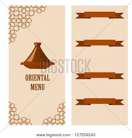 restaurant oriental menu template with tagine. Vector illustration