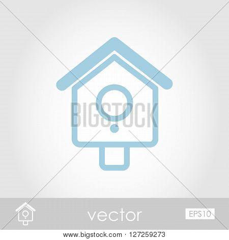 Nesting box bird-house icon outline isolated garden eps 10