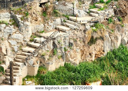 Steep trail with stone steps in Armenia