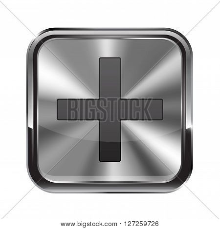 Metal button. With chrome frame. Zoom in icon. Vector illustration isolated on white background