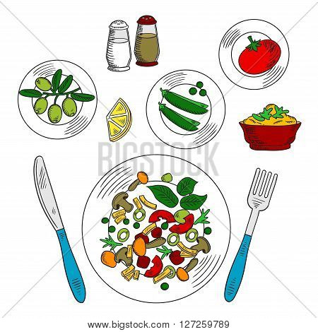 Vegetarian salad with ingredients colorful sketch of plate with sliced tomatoes, fresh green olives and sweet peas vegetables, sour sauce with lemon, mustard and spicy herbs, served with fork and knife, salt and pepper shakers. Use as recipe book, healthy