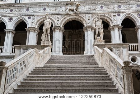 The Giants' Staircase Of The Doge's Palace In Venice, Italy