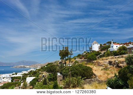 Aerial view of traditional greek village with white houses on Mykonos Island, Greece, Europe