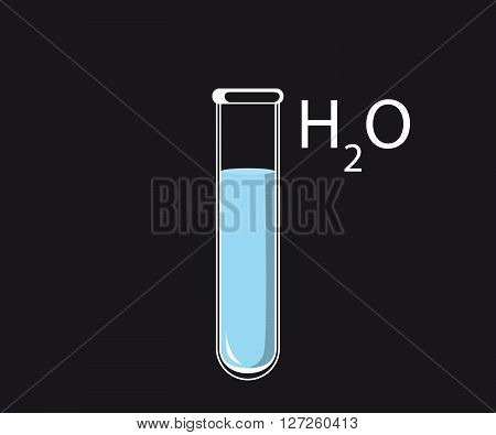test tube H2O vector illustration with water